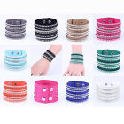 Fashion New Cuff Punk Bangle Rhinestone Leather Bracelet Wrap Wristband Gift