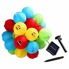Solar String Lights Outdoor Globe Lights 30LED Warm White/Multi Color Fabric Bal