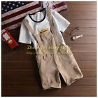 Mens Khakis Suspender Ripped Hole Jeans New Short Pant Denim Overalls Jumpsuits