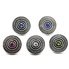 VintageSilver Alloy Rhinestone Snaps Buttons Charms Fit 18mm Snap Jewelry D