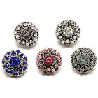 Alloy Round Heart Rhinestone Snaps Buttons Charms Fit 18mm Snap Jewelry