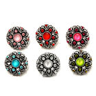 Vintage Flower Rhinestone Snaps Buttons Charms Fit 18mm Snap Jewelry