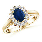 Princess Diana Inspired Blue Sapphire Ring with Diamond Halo 14K White Gold
