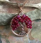 Ruby Necklace, Ruby Tree of Life Necklace in Antiqued Copper, Wire Wrapped