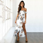 Womens Off Shoulder Floral Maxi Long Dress Lady Holiday Party Summer Beach Dress