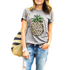 Gray Women Round Collar Short Sleeve Pineapple Print Casual Summer T Shirt US