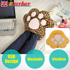 Washable Electric USB Foot Hand Warmer Plush Shoes Soft Leopard Slipper