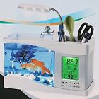 Desktop Mini Fish Tank Aquarium USB With LCD Display Multi functional Calendar