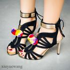 Womens High Heel Stiletto Suede Open Toe Hollow Out Strappy Slingback Shoes Size
