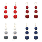 6 Colors New Design Three Thread Ball Drop Earrings Women's Fashion Linear Drops