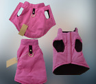 DOG COAT SMALL & MEDIUM PETS VEST PINK WINDPROOF WATER RESISTANT D ring LINED