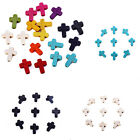 Внешний вид - Hot 40x Stone Cross Beads Loose Spacer Charm Fit DIY Jewelry Makings Mixed Color