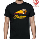 New Indian Motorcycle Classic Logo Men's Black T-Shirt Size S-3XL