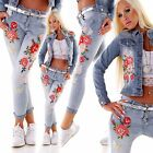JEANS mit Perlen & BLUMEN Stretch-Hose Sommer HOSE URLAUB PARTY Club XS S M L XL