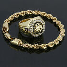 14k Gold Plated Rope Bracelet & MEDUSA HEAD Cz Round Hip Hop Style Pinky Ring