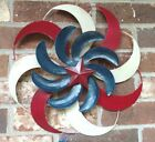 Windmills Hanging Patriotic Red White Blue Outdoor 3 Layers Metal Swirls New