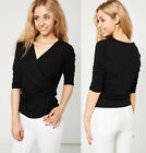 Ladies Black Wrap Cross-Over Front Top Stretch Lined Fabric Ex-Branded Sz 10-20