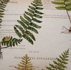 Fern and Geranium Fabric Cotton Linen Printed Botanical Vintage Sold by Metre