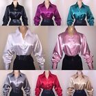 M L XL Shiny LIQUID SATIN Stretch BLOUSE Button/French Cuff Links NEW Vtg US SZ