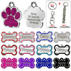 Bone Paw Personalized Glitter Dog Tags Engraved Cat Puppy Pet ID Name Collar Tag