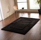 SIERRA APOLLO PLAIN BLACK THICK PILE CHUNKY SOFT LUXURY 100% WOOL BORDER RUG