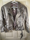 ANDREW MARC Motorcyle Style Silver Colored Leather Jacket Style# 10599 Size 8