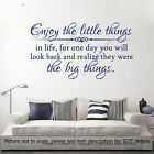 Enjoy the little things in Life Quote vinyl Wall Art Stickers inspiring Decals