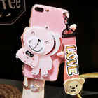 Hot 3D Cute Bear Kitty Mirror Summer Case Cover for iPhone 6S Plus 7 with Strap