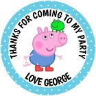 PERSONALISED PEPPA GEORGE PIG GLOSS BIRTHDAY PARTY SWEET CONE STICKERS 4 SIZES