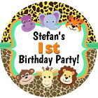 PERSONALISED  GLOSS WILD ANIMALS 1ST BIRTHDAY PARTY SWEET CONE STICKERS 4 SIZES