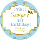 PERSONALISED GLOSS LITTLE PRINCE BIRTHDAY PARTY BAG BOX SWEET CONE STICKERS
