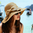 Cool Fashion Cap Floppy Wide Brimmed Summer Beach Bow Hat Women's Straw Sun Hat