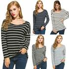 Stylish Ladies Women Casual Loose Striped Top O-Neck Long Sleeve Leisure SH