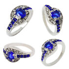 New Women Blue Sapphire Rhinestone Ring Wedding Engagement Jewelry Size 7 8 Gift