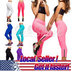 Us Local Women Capri Yoga Running Pants High Waist Cropped Leggings Fitness M-xl
