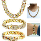 14mm Yellow Gold Filled Necklace 8-10inch Bracelet Set Curb Cuban Chain Jewelry  image