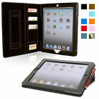 Snugg iPad 2 Executive Leather Case Built In Stand Elastic Strap Auto Wake