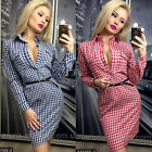 UK Women Long Sleeve Checked Bodycon Party Ladies Clubwear Slim Short Mini Dress