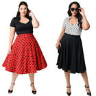 Women 50's 60's Vintage Rockabilly Swing Pinup Housewife Party Prom Dress Plus