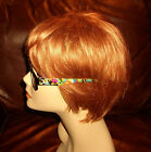Reading Glasses Readers +2.50 or +3.25 Black Rectangle w Floral Print Temples