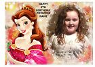 PRINCESS BELLE BEAUTY OWN PERSONALISED PHOTO A4 EDIBLE BIRTHDAY CAKE TOPPER