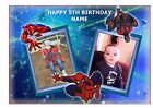 SPIDERMAN OWN PERSONALISED PHOTO A4 EDIBLE BIRTHDAY PARTY CAKE TOPPER