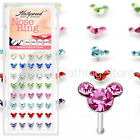 4pcs Mixed Colors Sterling Silver Studs Gemmed Mouse Nose Bone body jewelry 20g
