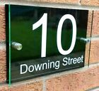 BLACK Personalised House number sign plaque GLASS EFFECT 2 panel acrylic perspex