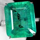 Natural Green Emerald 925 Silver Ring Women Wedding Bridal Gifts Jewelry Sz 6-10