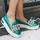 New Chic Womens Rhinestone Creepers Platform Loafers Slip On Sneaker Dress Shoes