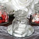 CLEAR 4 oz Square Glass Mini Jars Bottles FAVORS Wedding Party HOLDERS Wholesale