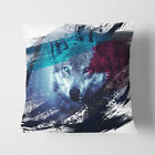 Faux Suede Throw Scatter Cushion Blye Eyed Wolf in the Forest (1) V2