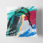 Faux Suede Throw Scatter Cushion Kingfisher Bird 2 V2