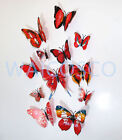 12pcs MAG 3D Butterfly Decal Wall Stickers Home DIY Art Decor Children Room Uk